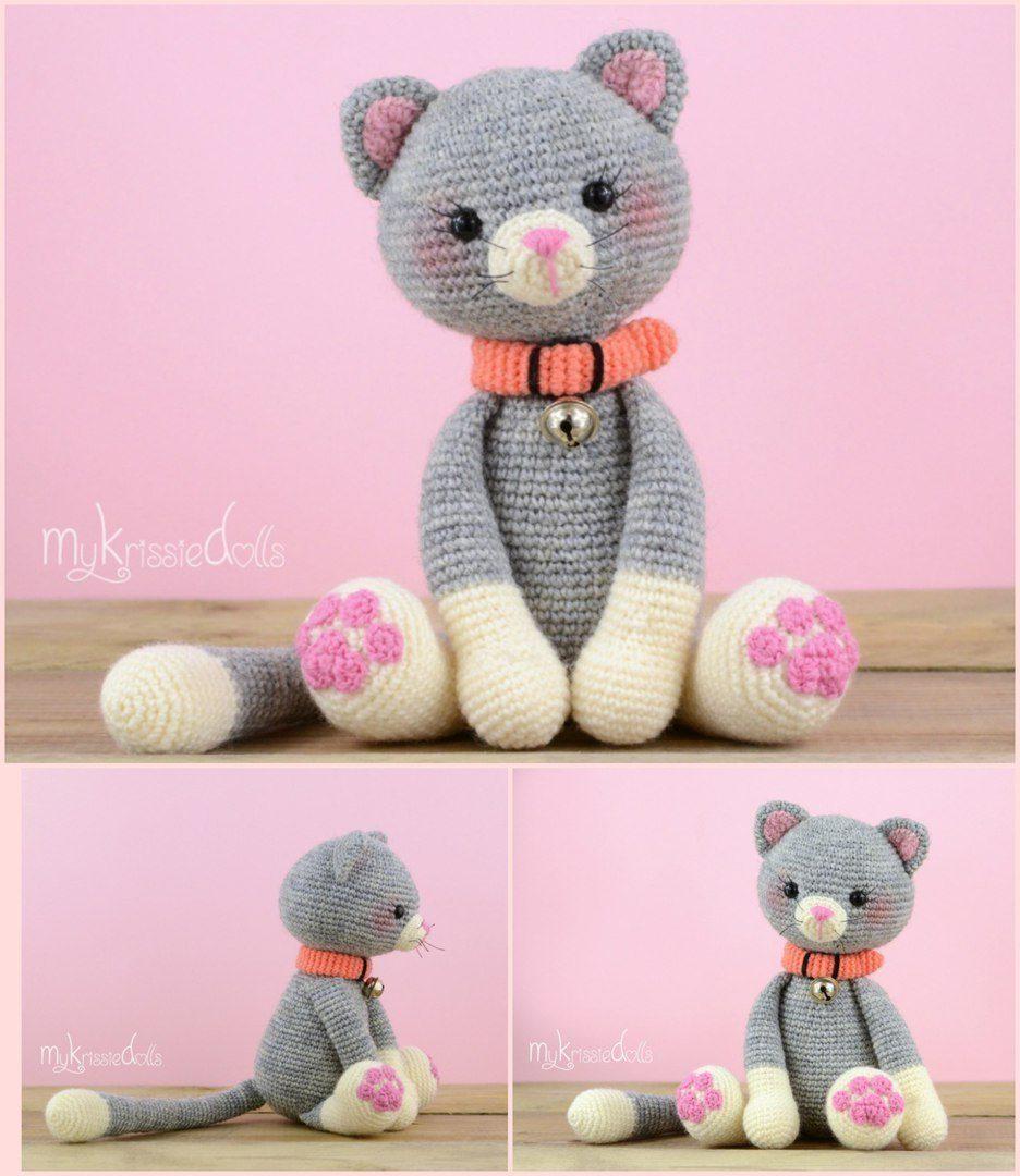 очаровательный котик крючком описание вязания вязаные
