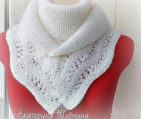Белый шарф с каймой (Вязание спицами)