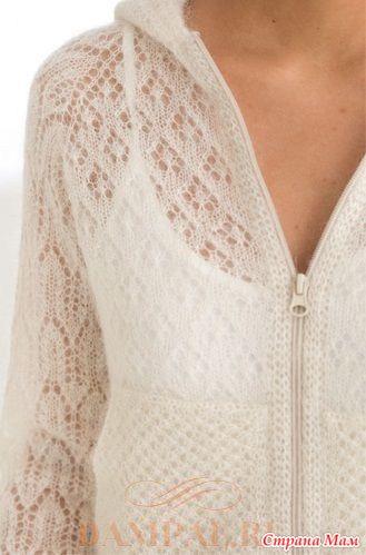 Женская вязаная толстовка с капюшоном (Вязание спицами)