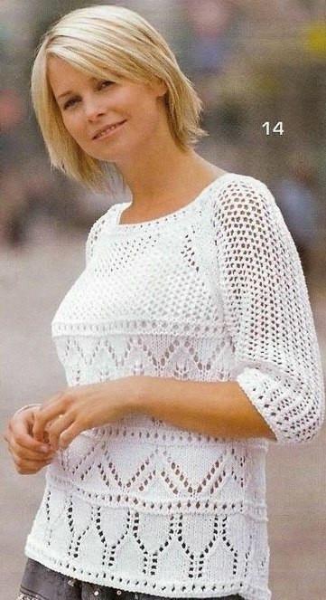 Летний пуловер - реглан сетчатым узором (Вязание спицами)