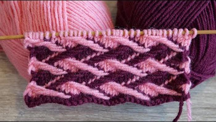 Очень плотный двухцветный узор спицами «Плетенка» (УЗОРЫ СПИЦАМИ)