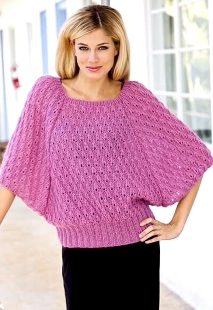 Пуловер летучая мышь спицами
