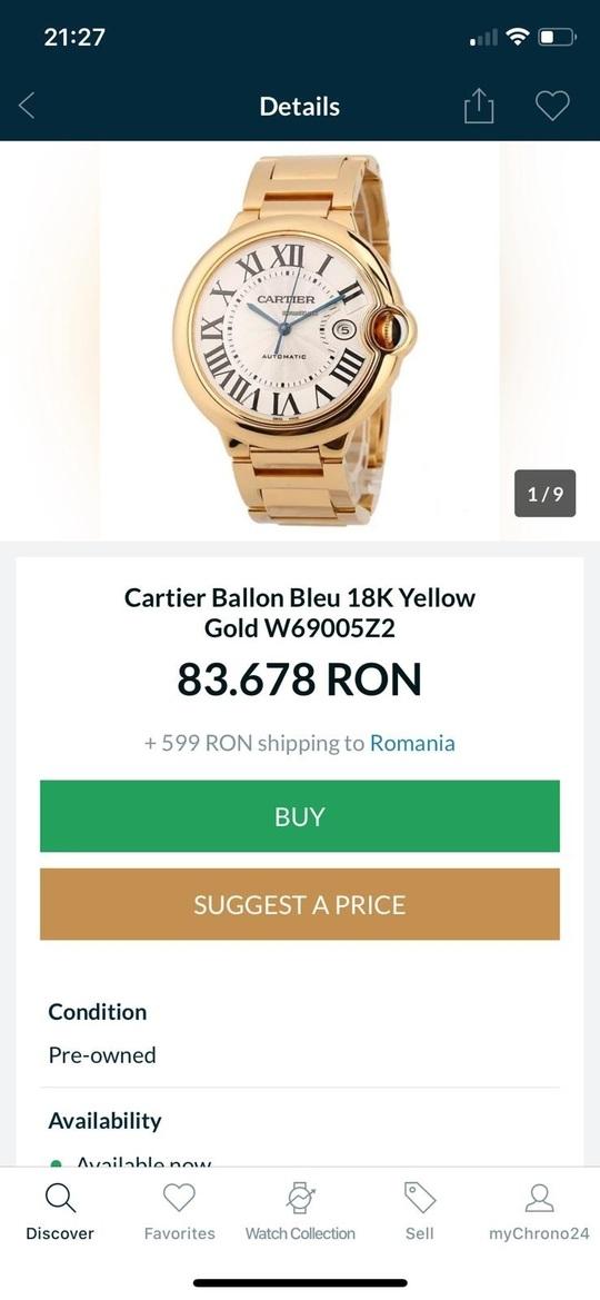 Ceas de aur, catalog