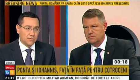 Dezbatere B1 TV, Victor Ponta, Klaus Iohannis