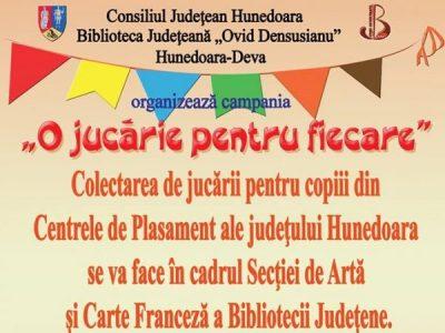 """Biblioteca județeană """"Ovid Densușianu"""" a demarat o nouă ediție a campaniei """"O jucărie pentru fiecare"""""""
