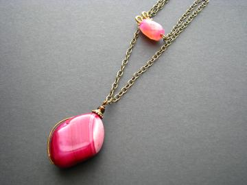 Pink Agate Drop Necklace & Chain