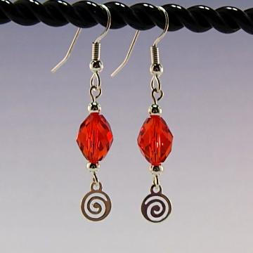 Red Faceted Crystal and Swirl Charm Earrings