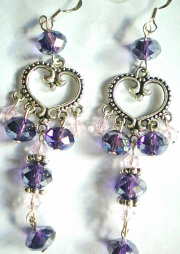 Deep purple crystal silver toned heart shaped chandelier earrings