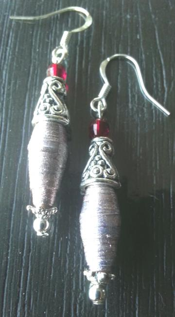 Antique silver toned light brown paper bead dangle earrings