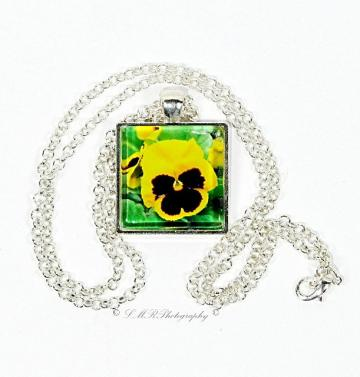 Photo Necklace, Glass Tile Pendant, Yellow Pansy Necklace, Flower Jewelry