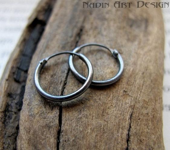 Mens Huggie Hoop Earrings 10mm - Sterling | NadinArtDesign