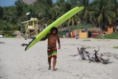 carrying the boards for lesson