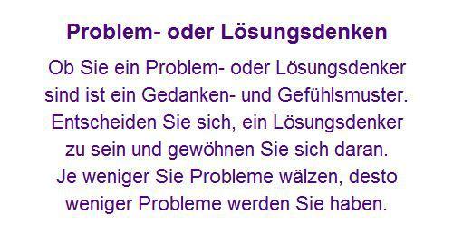 Problemdenken Lösungsdenken