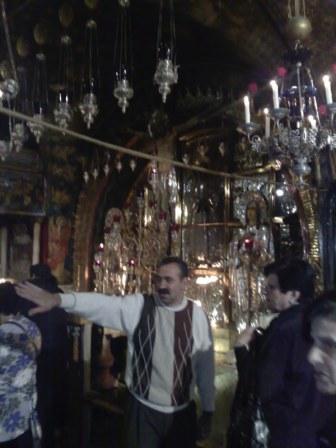 Wzgórze Golgoty, miejsce śmierci Jezusa na krzyżu, część prawosławna. Po prawej stronie od tego miejsca znajduje się część kościoła katolickiego: miejsce ukrzyżowania