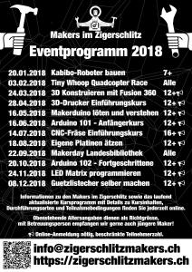 Jahresprogramm 2018 der Makers im Zigerschlitz