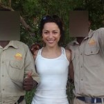 Former Chelsea FC doctor Eva Carneiro with tour guides at a conservancy in Victoria Falls last week