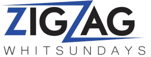 zigzag Whitsundays Business Logo in blue and black