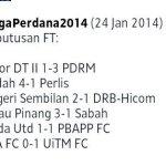 Keputusan terkini liga perdana 25 jan 2014