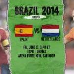 Keputusan perlawanan piala dunia spain vs netherlands(holland) 14 jun 2014