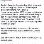 Info tiket semi final pahang vs kedah 24/10/2014