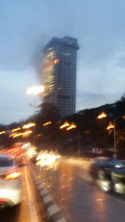 menara bukit aman terbakar,