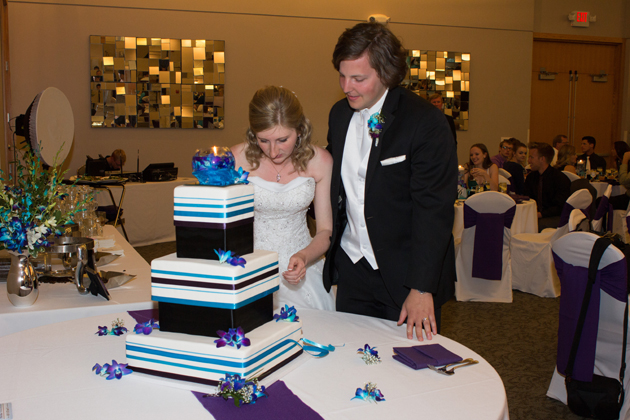 Square blue purple and white Wedding cake with bride and groom