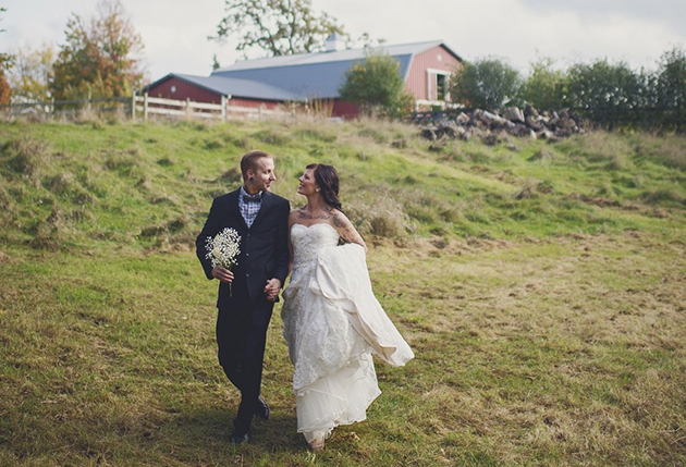 green pastures and nature scenery wedding