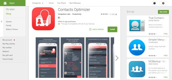 Contacts optimizer