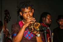 BLOWING HORNS: Soweto born trumpeter, composer and band leader Mandla Mlangeni was one of the guest appearances at the Sisia Sopazi Tribute concert held at The Orbit in Braamfontein. Mandla's performances are always electric.
