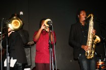 H3 Ensemble: (from L to R) Senzo Mzimela on trombone, Sthembiso Bhengu on trumpet and Linda Sikhakhane on tenor Saxophone.