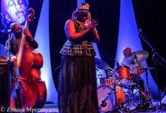 Herbie Tsoaeli, Thandiswa Mazwai and Ayanda Sikade play music from Mazwai's latest album, Belede