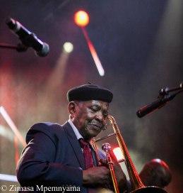 Jazz legend, Jonas Gwangwa at the 18th Cape Town International Jazz Festival