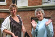 Mother and daughter; as daft as each other. Family wedding, 2006.