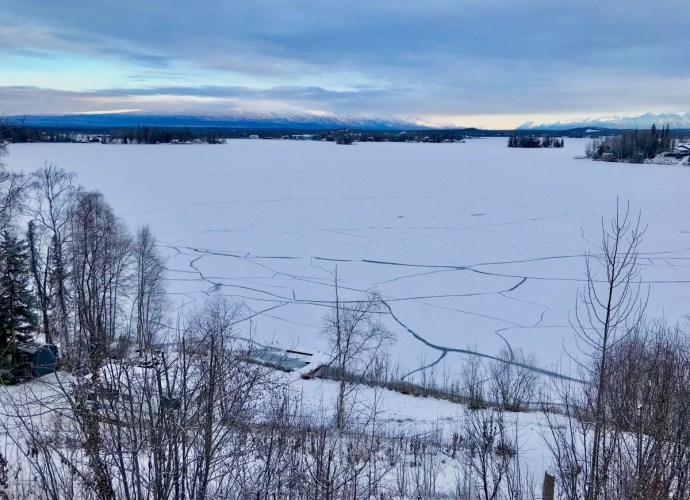 Ice cracks in lake earthquake