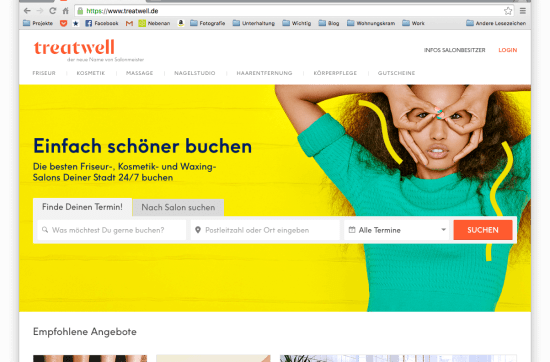 Screenshot der Treatwell Webseite