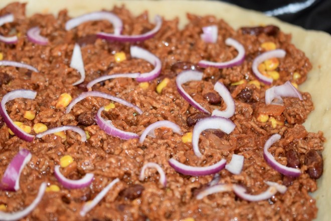 Rezepte: Hauptgerichte: Pizza Messicana - ungebacken und ohne Käse