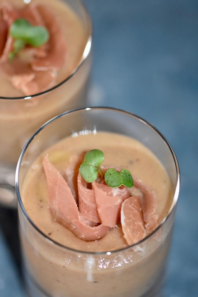 cremige Maronensuppe - Maronensuppe - cremig - einfach - lecker - Weihnachten - Schinken - Rezept - Portwein - Kokosmilch - gekochte Maronen - ohne Sahne - winterlich - Trüffelöl