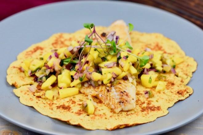 Boone-Food - Fisch-Tacos mit Mangosalsa - Mangosalsa - Rezept - Fischtortilla - Tacos - mexikanisch - mexikanische Küche - Fisch - einfach - glutenfrei - Fingerfood - Wrap -Tortilla - Salsa