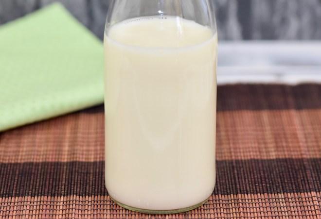 Milch in Glasflasche, Hintergrund braun und hellgrün