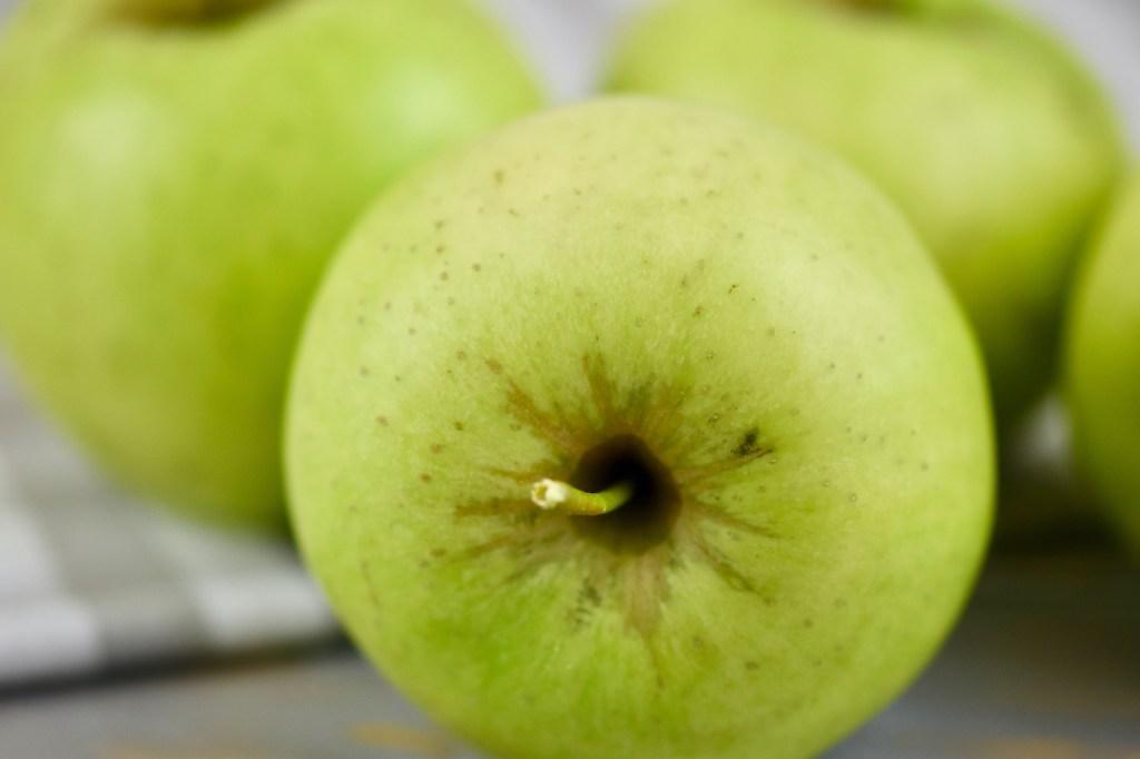 Grüne Äpfel. Nahaufnahme