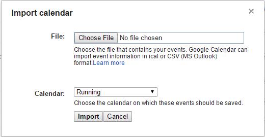 Garmin Calendar, Google Calendar