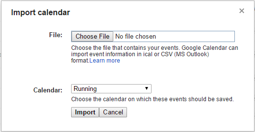 Import Garmin Calendar into Google Calendar