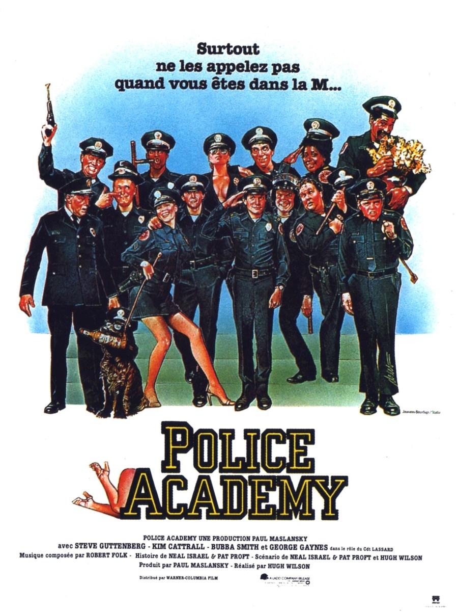 Cartel de Loca academia de policía, de 1984
