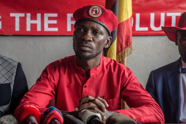 Musician and opposition candidate Bobi Wine holds a press conference, encouraging his