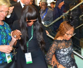 Infamous supermodel Naomi Campbell who considered herself close to Madiba left the service with her mother. Photo: Nokuthula Manyathi