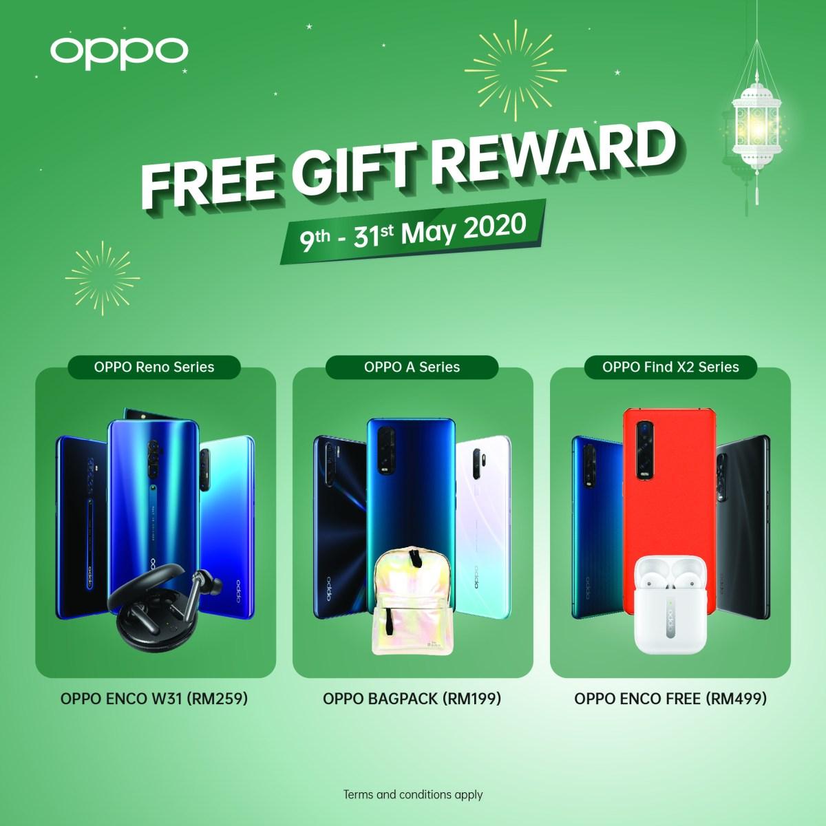 OPPO Raya期间送好康!Find X2、Reno系列等手机可享最高RM499赠品、参加抽奖还可享现金回扣! OPPO-Raya-Free-Gifts
