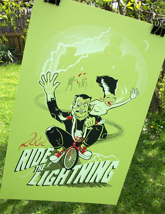 "Pinchflat Bicycle Poster show to sell our FIRST print ""Ride the Lightning"""