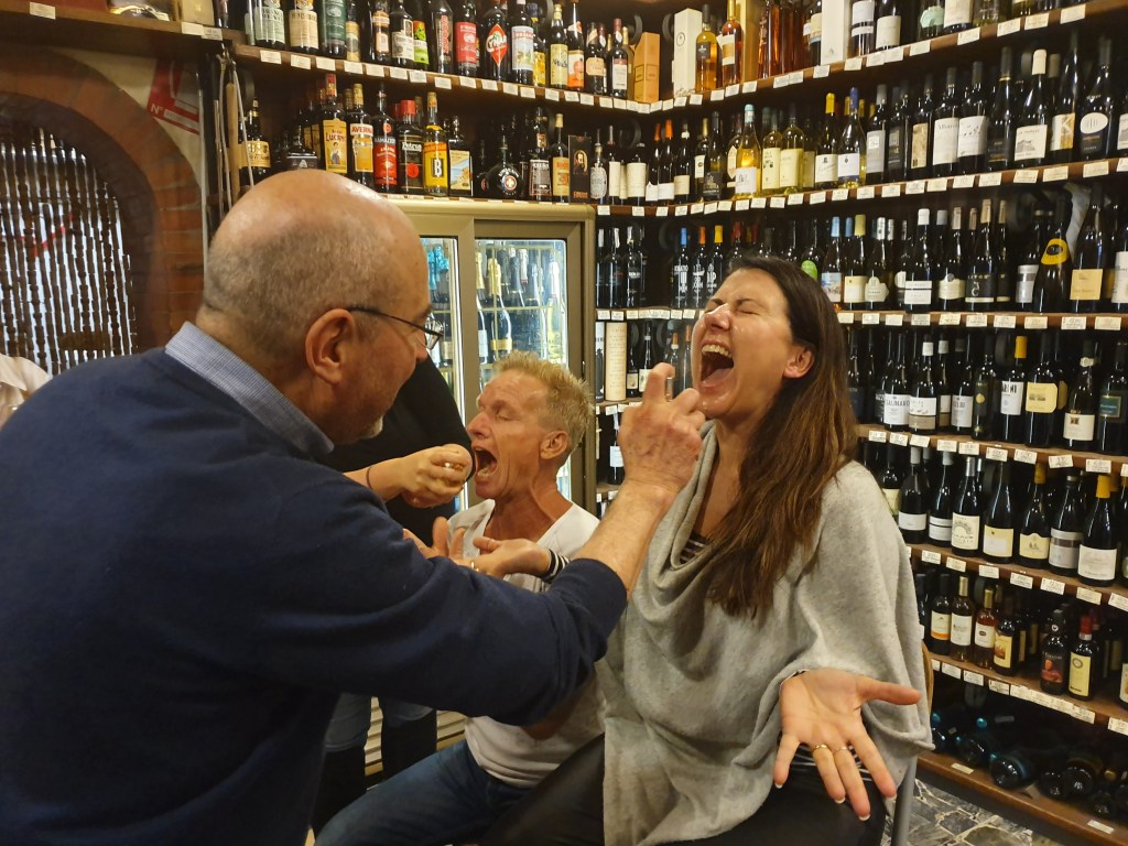 Baptism by Grappa at Fratelli Zanobini on Nat's Florence for Foodies tour!