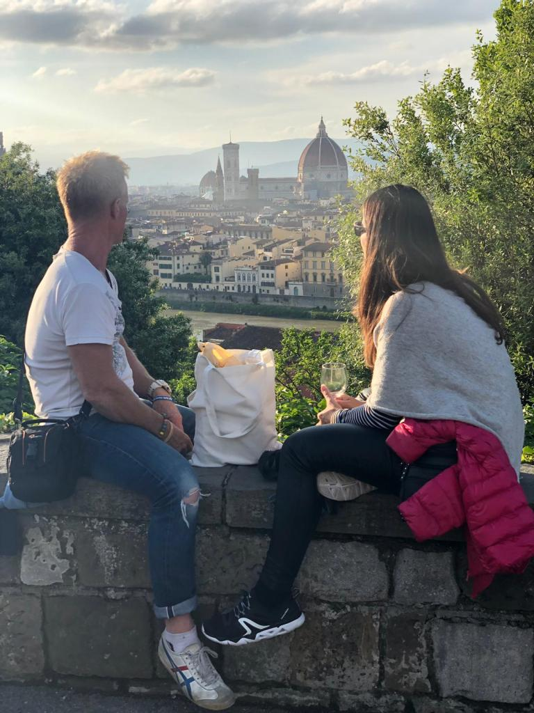 Savouring the sunset across Florence with our snack bag of goodies!
