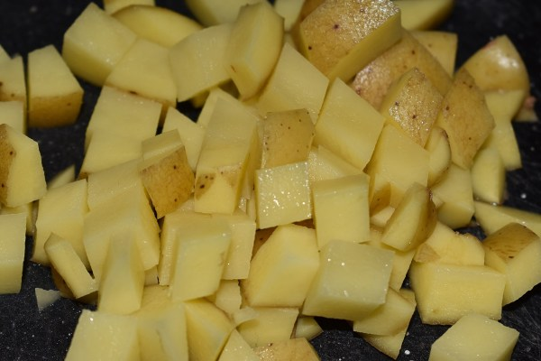 Potatoes chopped small for Zuppa Toscana